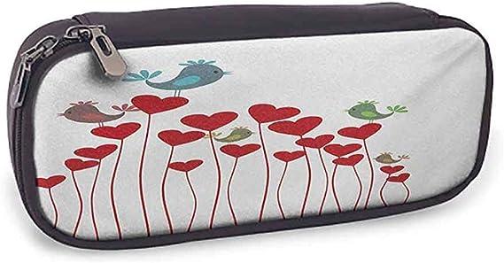Estuche para lápices Amor Pájaro canta Corazones sentados Twittear Primavera Jardín San Valentín Rubí Cadete Azul Verde Malva: Amazon.es: Oficina y papelería