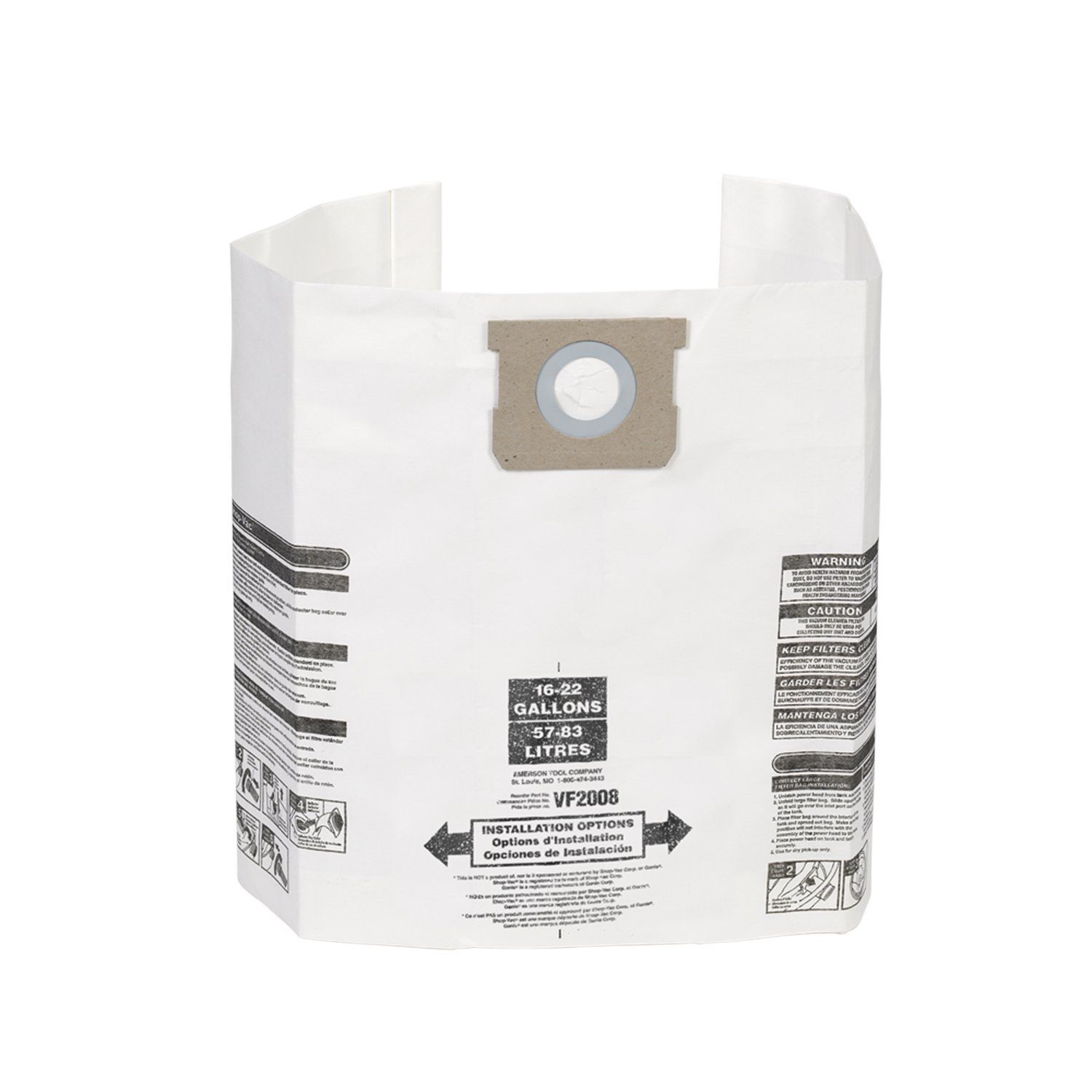 Multi-Fit Wet Dry Vacuum Bags VF2008 General Dust Filter Bag (3 Shop Vacuum Bags), Bag Filter For Most 15-Gallon To 22-Gallon Shop-Vac, Genie Shop Vacuum Cleaners Emerson Tool Company