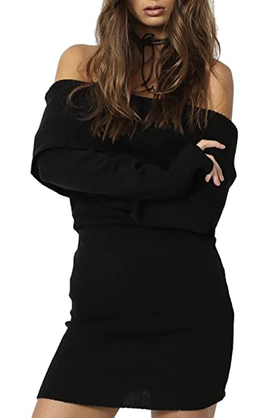 e292f2786d5 Women Off Shoulder Dress Knit Long Sleeve Bodycon Sweater Dresses Black One  Size at Amazon Women s Clothing store