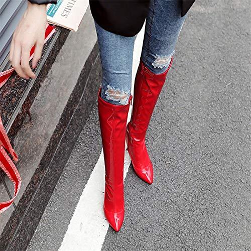 Altas Otoño De Black Invierno Botas Punta Para negro Rodilla Blanco Charol E Mujer Moda Rojo Iwxez Aguja Estrecha Tacón YO5xq5