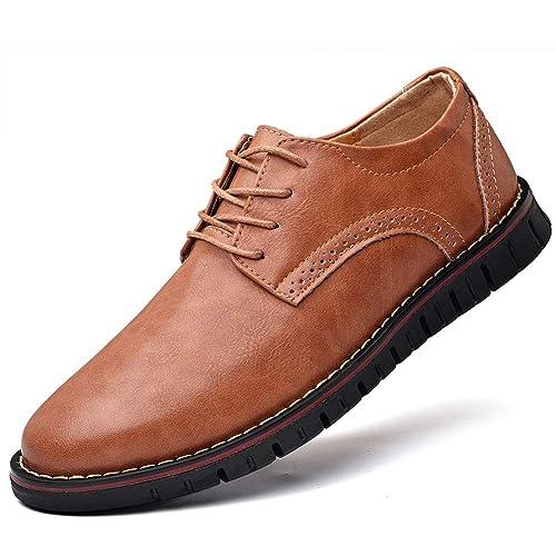 Amazon.com: Zapatos de vestir para hombre de cuero genuino ...
