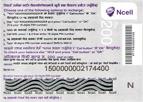 Nepal Ncell Prepaid Top Up Recharge Airtime Voucher: Amazon ca: Cell