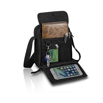 Harwish Mens Multifunctional Canvas Messenger Handbag Outdoor Sports Over Shoulder Crossbody Side Bag Black