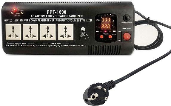 Yinleader PPT-1600 - Transformador Elevador/Reductor de Voltaje de 1500 Vatios EE.UU. - Convertidor de Energía de 220 Voltios - 220V / 110V 1500W Estabilizador de voltaje automático: Amazon.es: Bricolaje y herramientas