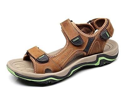 Huateng Neue Herren Sommer Strand Schuhe OutdoorLeder Freizeitschuhe Ledersandalen Offene Zehe Sandalen