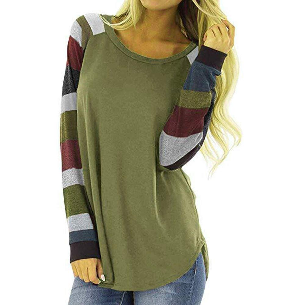CHIDY Fashion Women Casual Stripe Color Block Stitching Tops T-Shirt Ladies Loose Long Sleeve Blouse