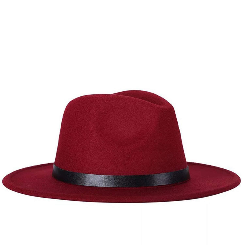 DOSOMI Vintage Unisex Fedora Autumn Winter Wide Brim hat Outdoor Casual Hat with Belt
