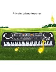 Broadroot Black 61 Key Digital Electronic Keyboard & Microphone Electric LED Piano