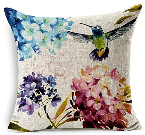 Beautiful oil painting hummingbird and Hydrangea Ixora chinensis Cotton Linen Home Throw Pillow Case Personalized Cushion Cover NEW Home Office Decorative Square 18 X 18 Inches (Pillows Hydrangea Throw)