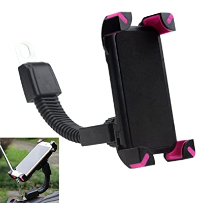 Leagway Motorcycle Phone Holder, Motorcycle Motorbike Phone Mount Holder Handlebar Compatible with 3.5-6.5 inch Samsung Galaxy S5 S6 S7 S8 S9 Nexus LG Huawei Smartphones, 360 Degree Rotation (Rose)