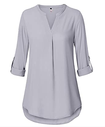 Super ELFIN Damen Freizeit Lange Ärmel V-Ausschnitt Chiffon Bluse #UY_18