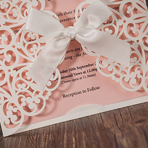 Hollow White Lace Flora Flowers Wedding Invitations Elegant Laser Cut Ribbon Bowknot Party Greeting Paper Cards CW6177 (100) by Wishmade (Image #3)