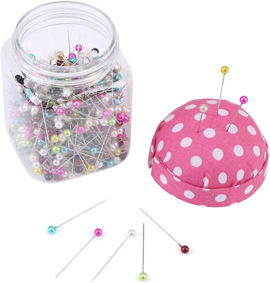 500Pcs Beads Needles Mixed Color Round Pearl Ball Head Quilting Pins in Pink Fabric Covered Pin Cushion Bottle for DIY Sewing Craft