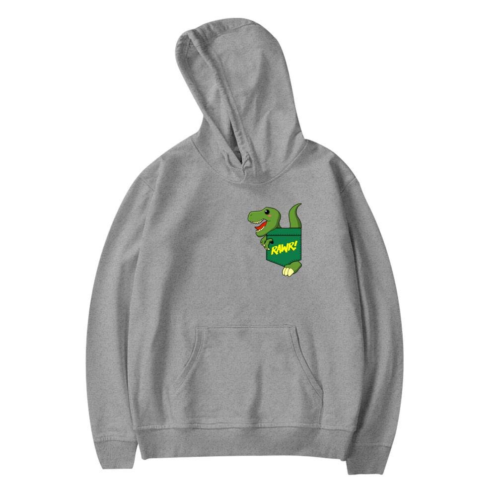 Creative Green Pocket Dinosaur Printed Boys Girls Funny Hooded Creative Casual Sweatshirt Plus Velvet Pocket Kids Youth