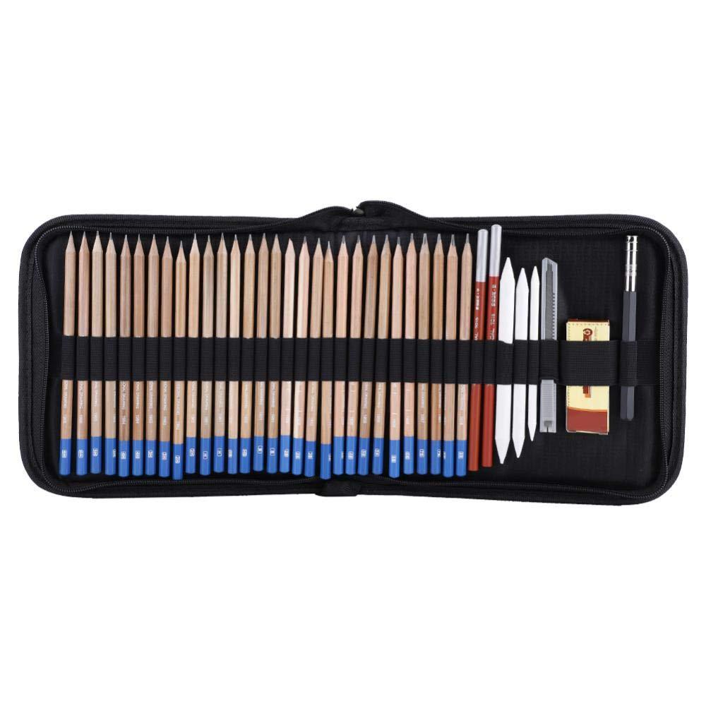 Akozon Pencil Set Scholine Sketch Pencils Eraser Charcoal Pencil Drawing Art Supply Set Art Design B Pencil Set