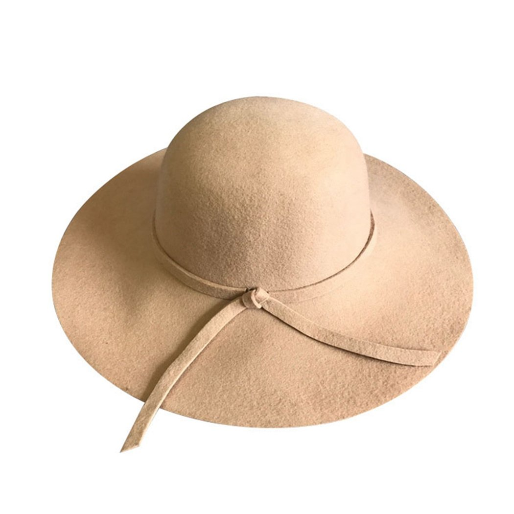 c4104554d9e9e Women s Soft Vintage Wide Brim Fedora Hat Wool Felt Bowler Floppy High-end  Sun Hat at Amazon Women s Clothing store