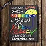 Rainbow Baby Sign - Pregnancy Announcement after Miscarriage - Chalkboard Poster Print by Katie Doodle - CUSTOMIZABLE