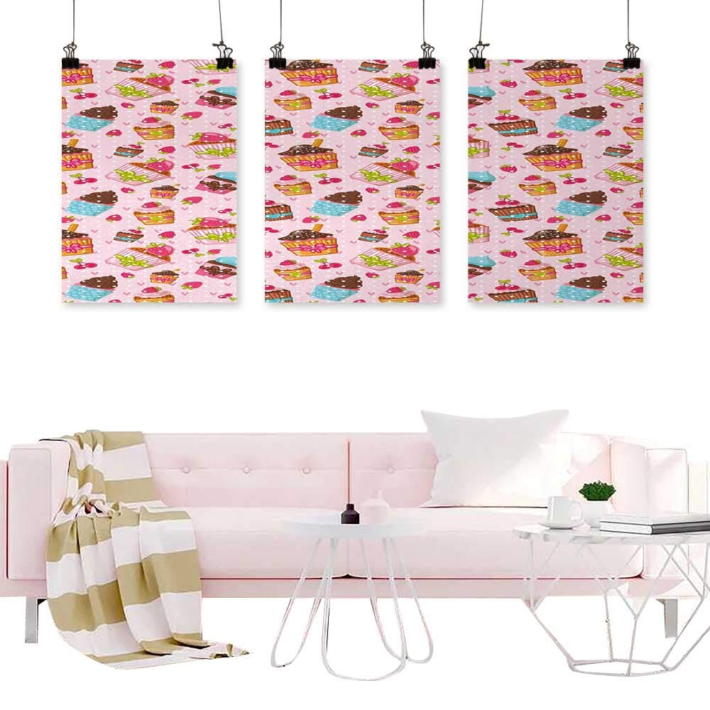Triptych Modern Watercolor Art Print Pink,Kitchen Cupcakes Muffins Strawberries and Cherries Food Eating Sweets Print,Light Pink and Brown Calligraphy Paintings for Kitchen Vintage by Loruoaine