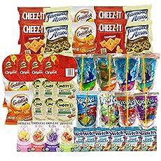 This bulk Bundle includes POUCHES: (4) 2 oz Famous Amos Chocolate Chips, (4) 1.5 oz Cheez it Original, (4) 1 oz Goldfish Cheddar, (4) 0.67 oz Pringles the Original, (6) 0.9 oz Welch's, (6) 3.9 oz Organic Mott's Applesauce, DRINKS: (4) 6 Fl oz Caprisu...