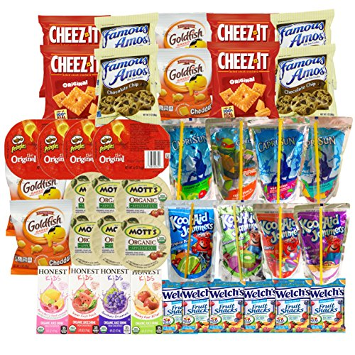 Healthy Snacks, Drinks, Juice, and Junk Food for Kids after School, Lunch Box (40 Count) Variety Pack with Cookies, Goldfish, Pringles Chips, Crackers, and Juices: Caprisun, Honest Kids and Kool Aid (Healthy Easter Baskets For Kids)
