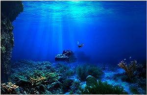 Libaoge Fish Tank Background 3D Underwater World Aquarium Backdrop Sticker Wallpaper Decoration PVC Adhesive Decor Paper Cling Decals Poster