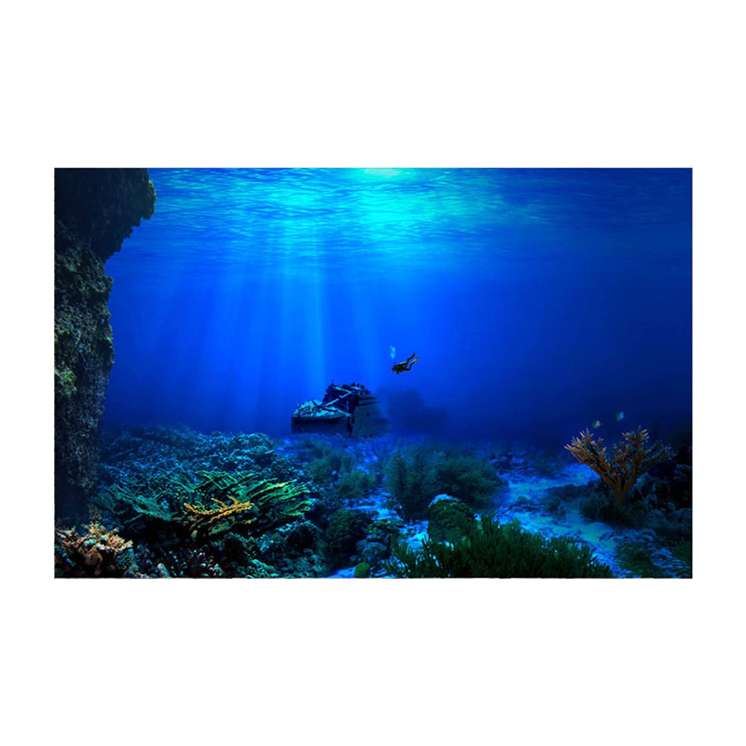 Libaoge Fish Tank Background Underwater World Sunken Ship Aquarium Backdrop Sticker Wallpaper Decoration PVC Adhesive Decor Paper Cling Decals Poster 30'' W x 18'' H by Libaoge