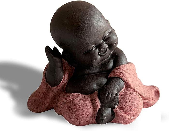 WAARTA Baby Laughing Buddha Statue | Zen Garden Buddha Statues for Home Decor | Ceramic Buddhist Monk Meditation Decor | Asian Zen Hindu Decoration Figurine Buddha Decor | Pink