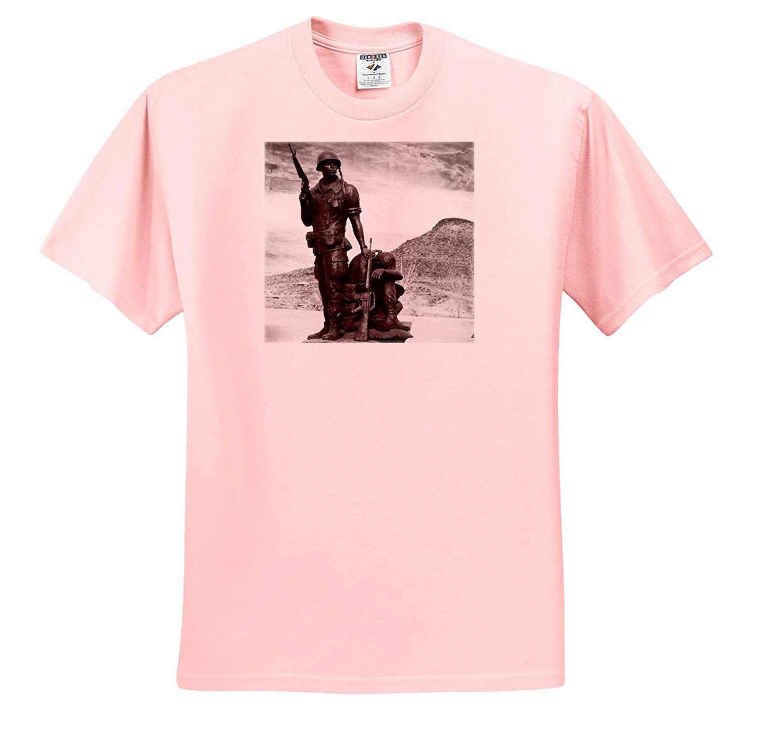 3dRose Jos Fauxtographee Black and White Army Men T-Shirts A Statue of an Army Soldier Standing with a Man on The Ground
