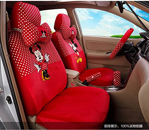 Best savings for 1 Set Fashion Breathable Seat Cushion Red Cartoon Mouse Cute Car Seat Cover Ice Silk Car Steering Wheel Cover Neck Pillows