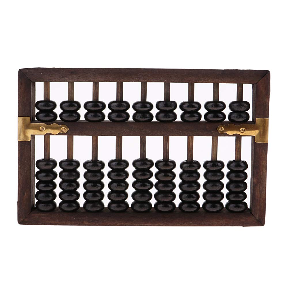 SM SunniMix Aging Vintage Wooden Beads Arithmetic Abacus Chinese Calculator with Box Holder Ancient Calculator