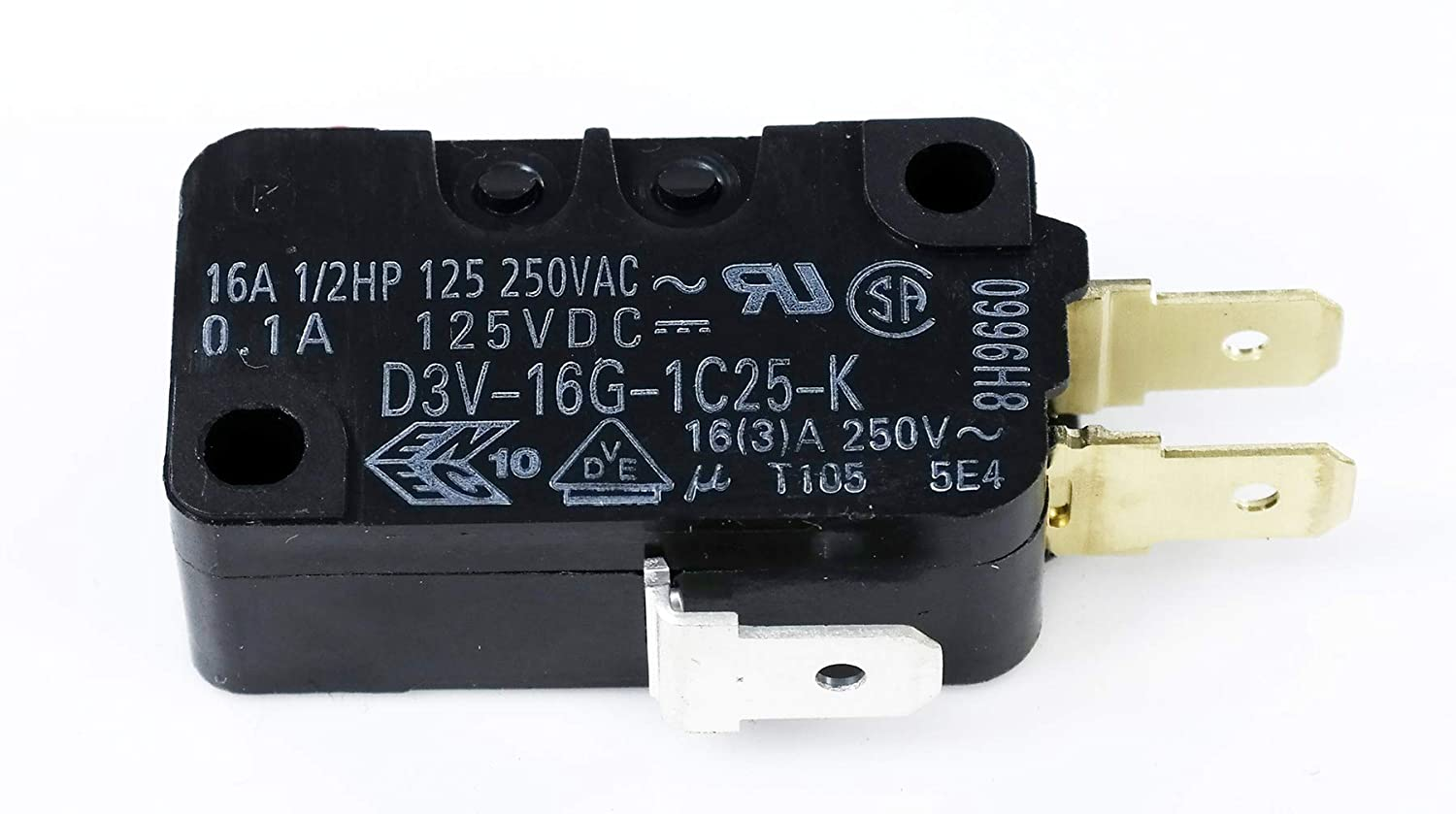 1X OMRON COMPONENTES ELECTRÓNICOS D3V-16G-1C25-K MICROSWITCH Pin émbolo SPDT 16A
