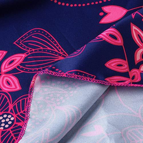 Chemise Bretelle Automne Printemps Chic S Tops Shirt Grande Solike Blouse Floral Manches Taille Tunique Rose vif sans 5XL Bandage Impression T Longues Femme Casual Loose zUwTq6