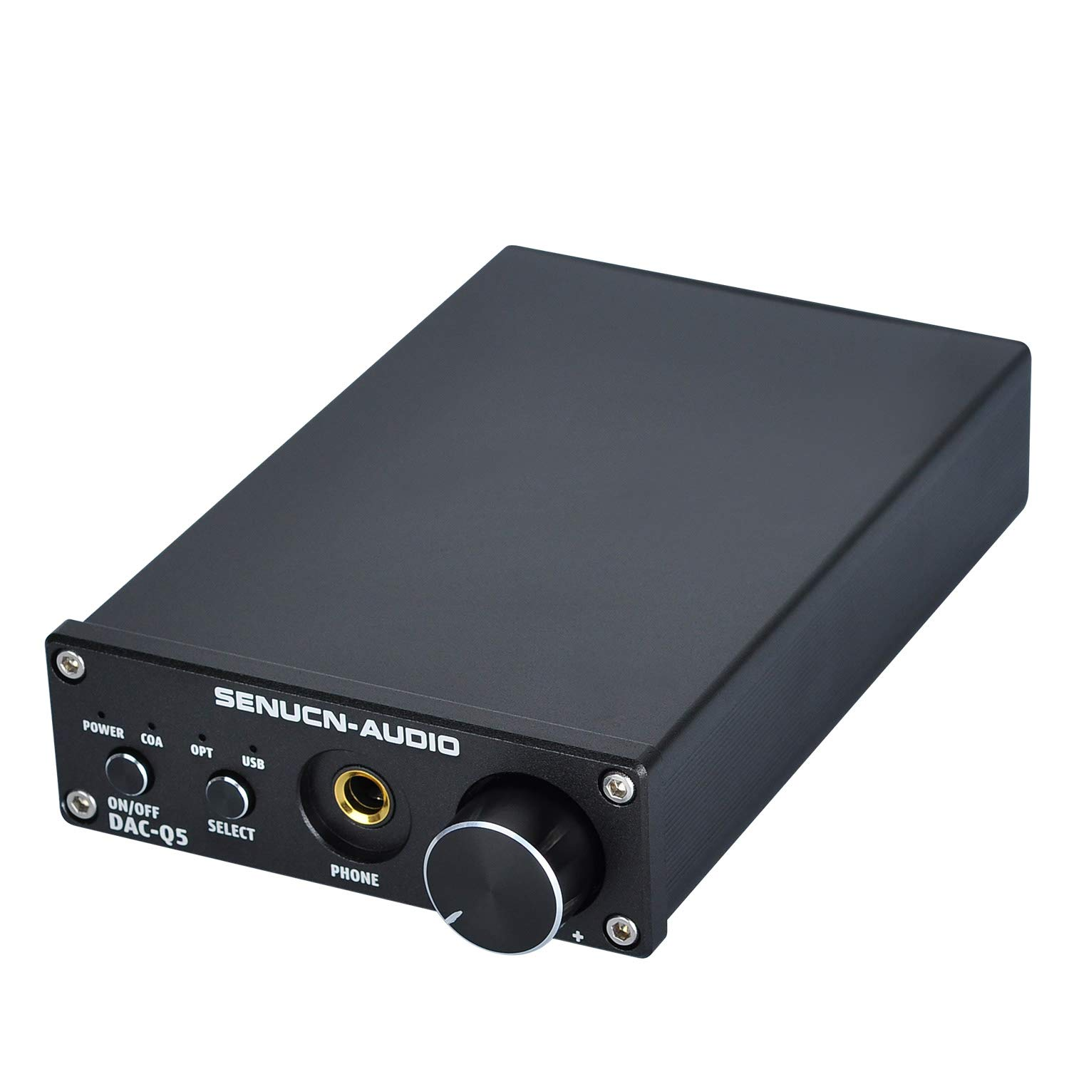 SENUCN-Audio Q5 DAC & Headphone Amplifier, Optical Coaxial Digital to Analog Converter/USB Stereo Audio Decoder