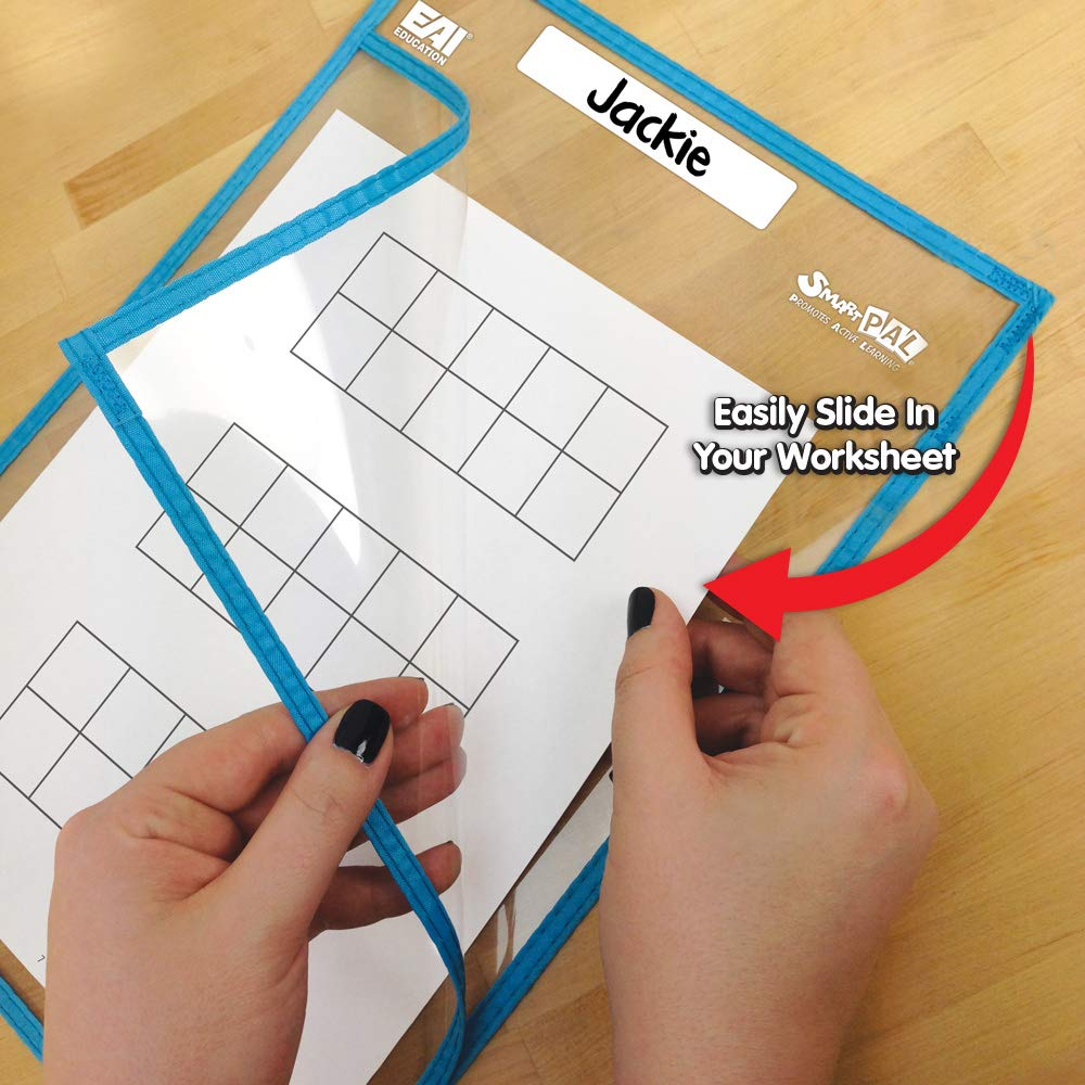 EAI Education SmartPAL Dry-Erase Sleeves Class Kit Set of 10 Fluorescent w//CleanWipes