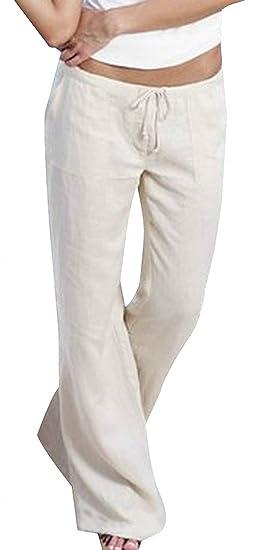 Pantalon De Loisirs Femme Taille Haute avec Cordon De Serrage Fashion Large  Pantalon Large Wide Leg Pants Uni Manche Elégante Confortable Spécial Style  ... 01daf84b927b