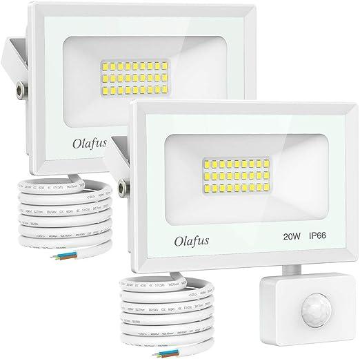 Olafus 2 Pack 20W Focos LED Exterior con Sensor de Movimiento, Proyectores Foco LED con Detector 1800LM Blanco Frío 5000K, Impermeable IP66, Iluminación Exterior de Seguridad para Jardín Patio Garaje: Amazon.es: Iluminación