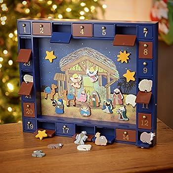 Kurt Adler J3767 Wooden Nativity Calendar with 24 Magnetic Piece