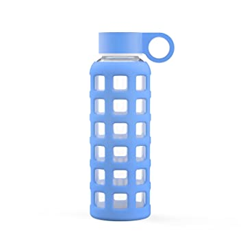 Amazon.com: Botella de agua de vidrio templado con funda de ...