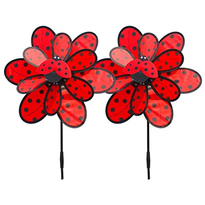 TOYANDONA Wind Spinners Garden Pinwheel Cloth Ladybird Windmill Double Layer for Yard Decor Kids Girl Toy Children Photo Props Party Gift Favor 2pcs: Garden & Outdoor