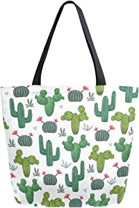 ZzWwR Chic Desert Blooming Cactus Pattern Extra Large Canvas Beach Travel Reusable Grocery Shopping Tote Bag Portable Storage HandBag,Green White
