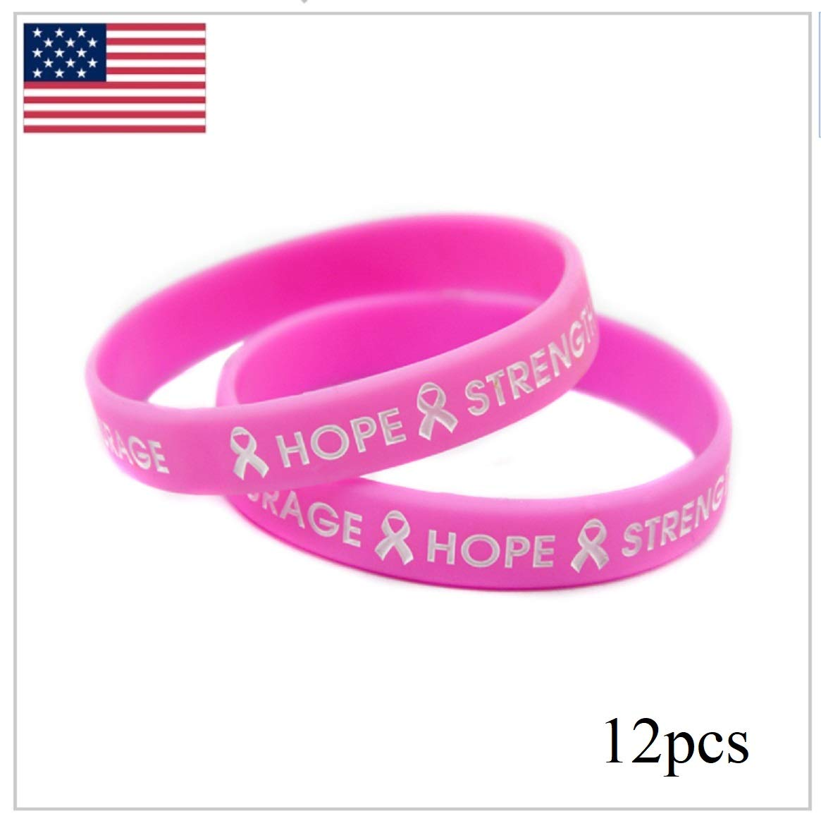 2 6 12 24 pcs Breast Cancer Awareness Pink Silicone Bracelets 'Hope Strength Courage' by PCA Etc