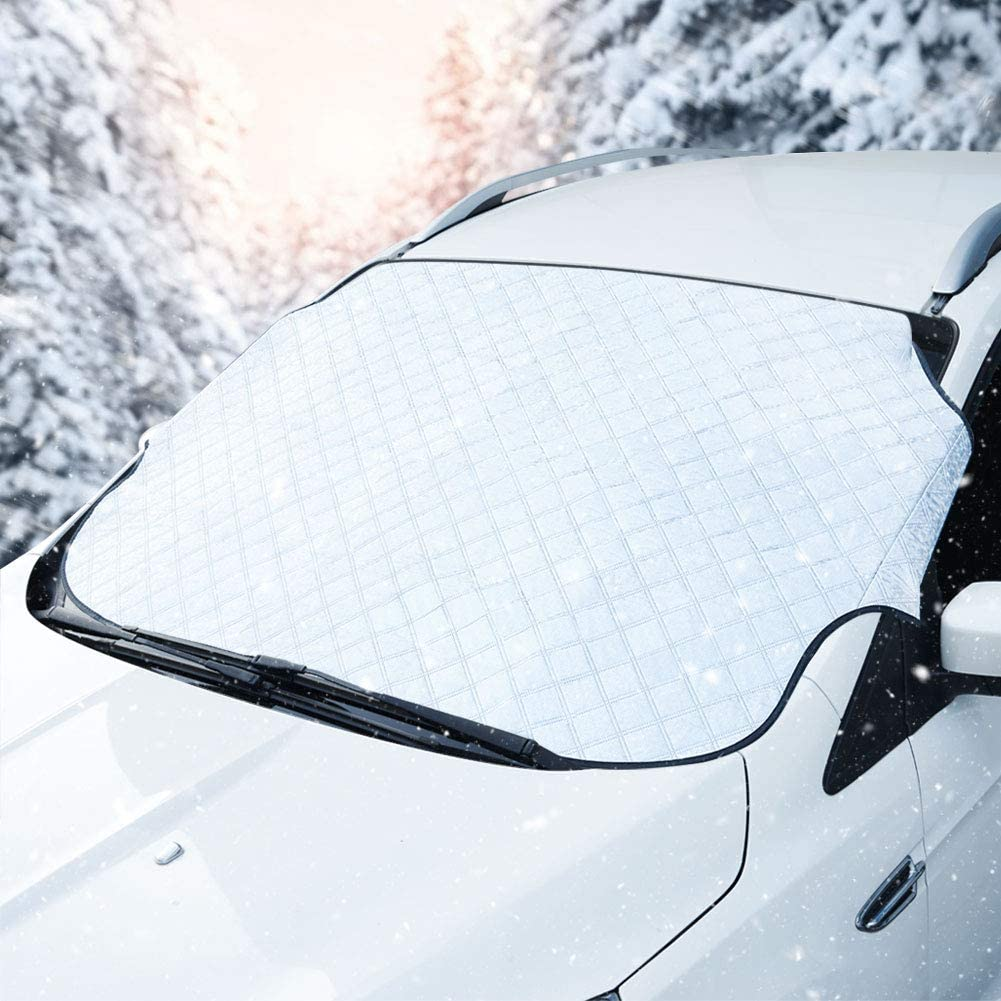 JSCARLIFE Car Windshield Snow Cover Auto Front Window Protector Car Sunshades UV Ray Reflector for Windshield Ice Defense Thicker Windshield Winter Cover Fits for Most Cars and SUV L Size