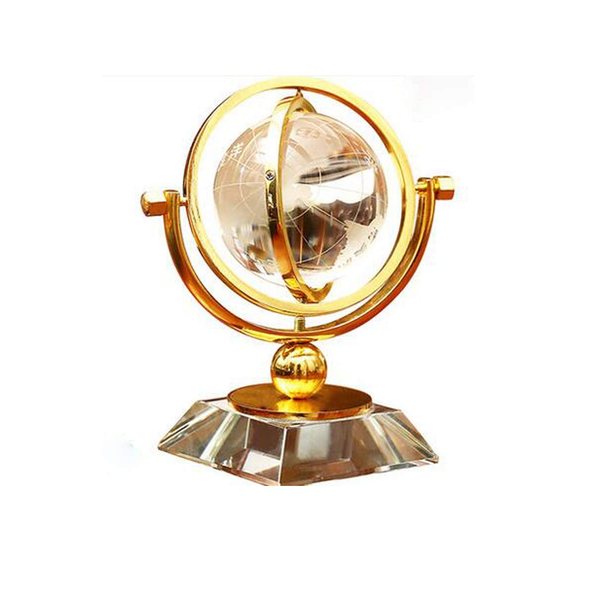 Kehuiying13 Crystal Ball Decoration Globe Home Furnishings European Desk Study American Wine Cabinet Decoration Bookcase Living Room (Color : Gold)