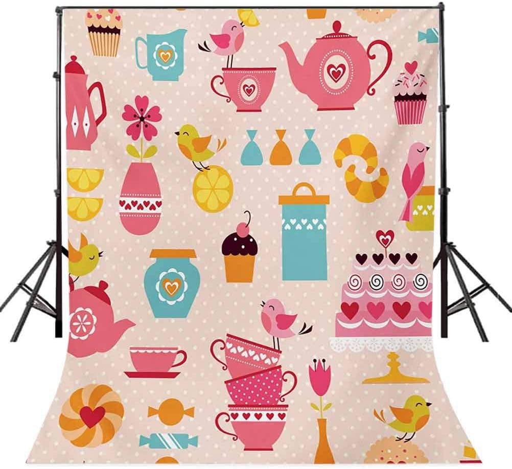 Tea Party 10x15 FT Photo Backdrops,Cute Tea Time Elements Funny Cartoon Birds Hearts Love Imagery Cake and Sugar Background for Party Home Decor Outdoorsy Theme Vinyl Shoot Props Multicolor