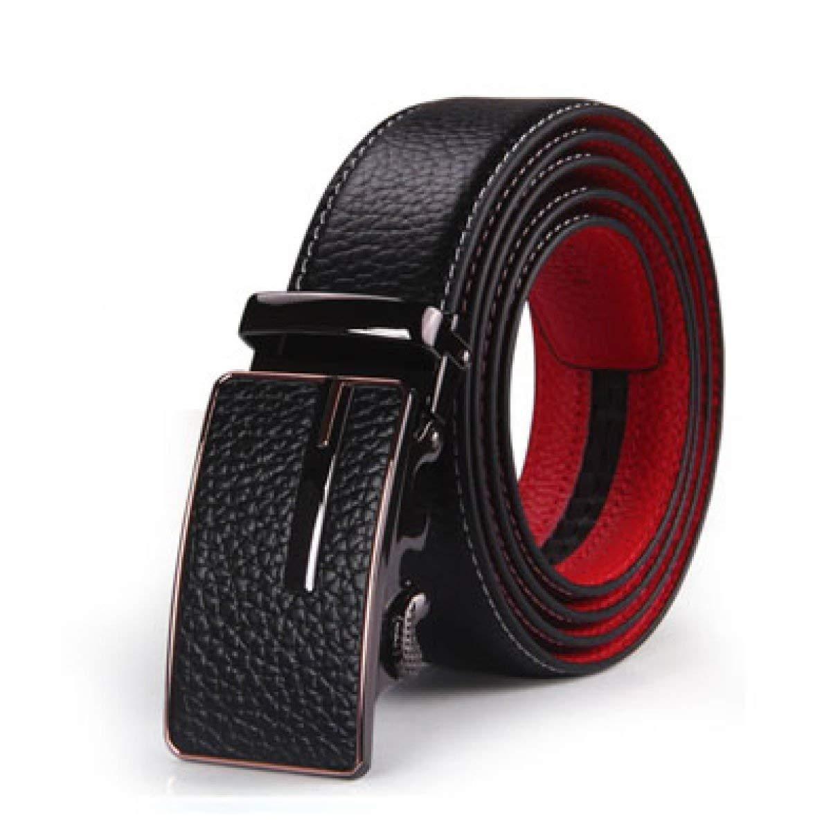 FuweiEncore Herren Leder Schnalle Dark ROT Gürtel für Work & Casual (Farbe   C, Größe   140 cm)