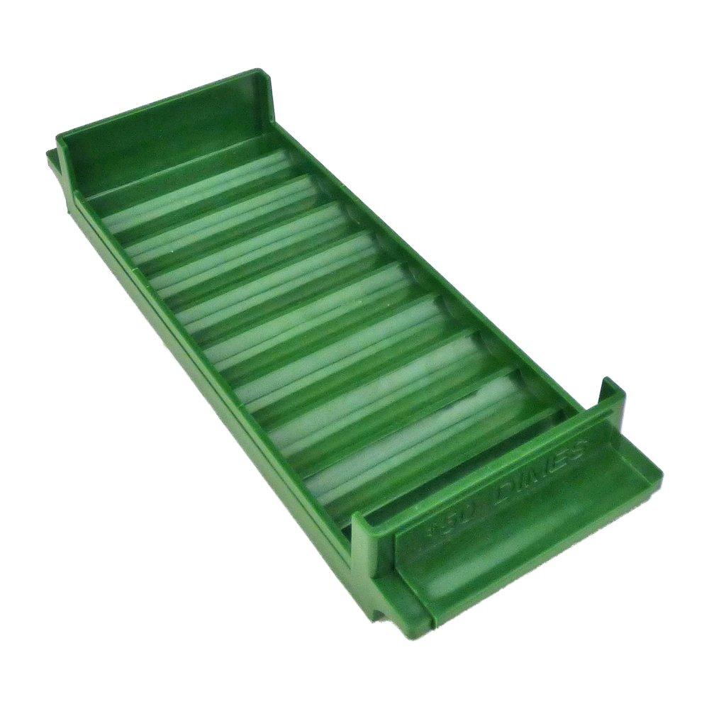 Rolled Coin Plastic Storage Tray, Dimes, Green (2 Trays)