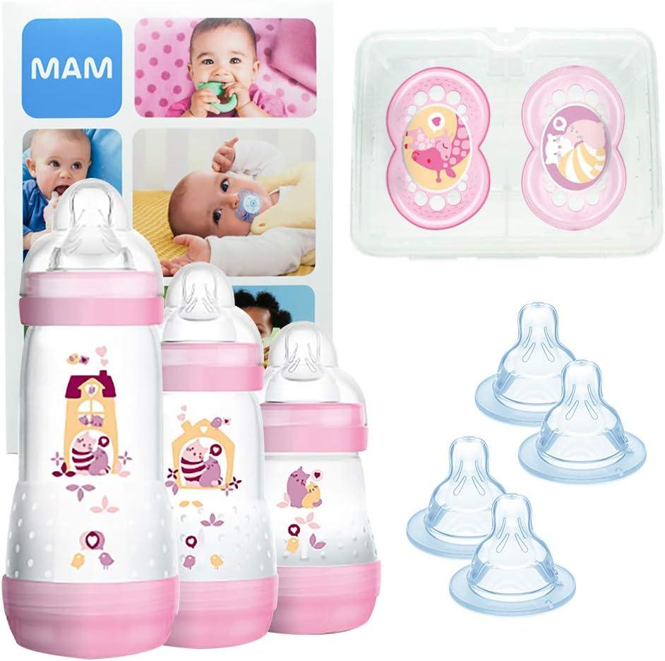 MAM Grow With Me Bottle Set, regalos para bebés, con 3 biberones anticólicos Easy Start (160/260/320 ml), 2 chupetes Original +6, 2 tetinas T3 y 2 TX, 2 meses, NIÑA (Girl)