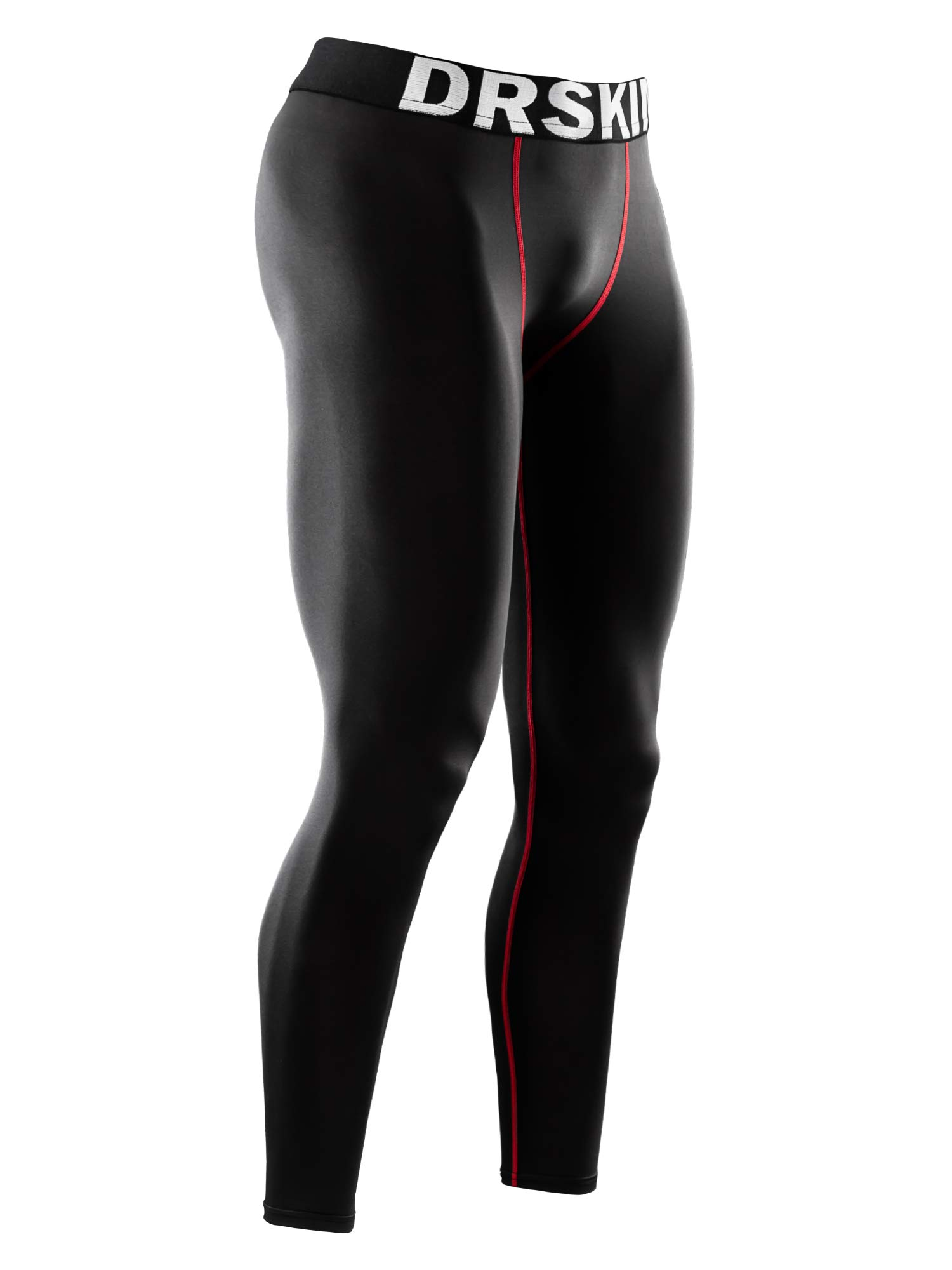 DRSKIN Men's Compression Warm Dry Cool Sports Tights Pants Baselayer Running Leggings Yoga (Line BR06, XL) by DRSKIN