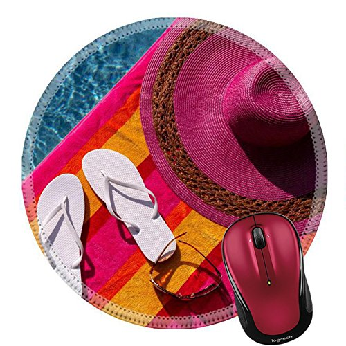 Liili Round Mouse Pad Natural Rubber Mousepad Pair of white flip flops by the pool on a bright orange pink red and yellow striped towel with sunglasses and big pink - F Sunglasses Logo