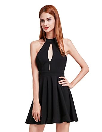 d51f77cd5fa4 Alisa Pan Sexy Halter Neck Slim Fit Little Black Dress 05798 - Black -:  Amazon.co.uk: Clothing
